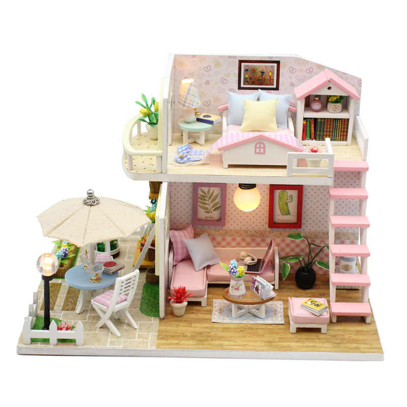 Doll House DIY Miniature Dollhouse Wooden Toy with Furnitures Handmade Casa Interative Toys Dolls Houses for Kids Birthday Gift