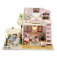 Casa de muñecas DIY Casa de muñecas miniatura juguete de madera con muebles Casa hecha a mano juguetes interativos muñecas casas para niños regalo de cumpleaños