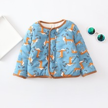 Korean New Style Baby Girls And Boys Cotton-padded Clthes Kids Single-breasted Cartoon Pattern Jacket Girls Outerwear Funny Warm