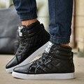 Botas de Pele de inverno Sapatos Casuais Homens Flats de Couro PU Para Sapatas dos homens de Moda Preto de Alta Top Flats Sapatos Zapatos Hombre 2016