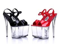 Shoes Woman Summer 2016 High-heeled Shoes 20CM Nightclub Thick-water Platform Sandals Crystal Shoes Stage Size 34-44