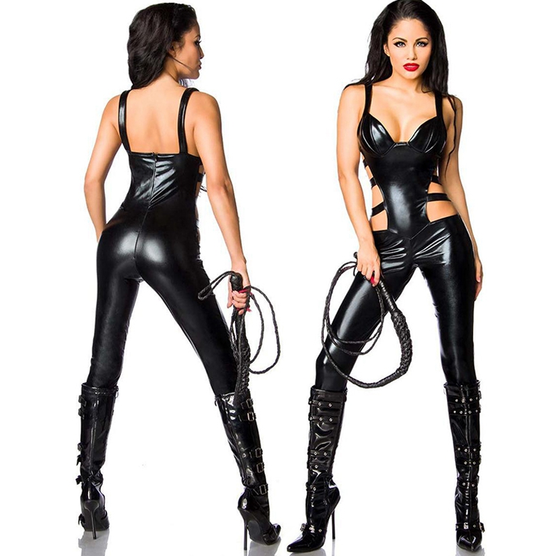 2017 New Arrival Black Womens Wetlook Devil Costume Outfit Fairy Sexy Vinyl Leather Overall Shiny Cut Out Catwoman Jumpsuits