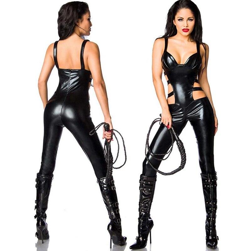 2017 nouveauté noir femmes Wetlook diable Costume tenue fée Sexy vinyle cuir global brillant découpé Catwoman combinaisons