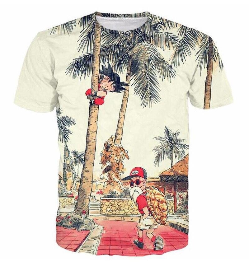 Dragon Ball Z Son Goku Men Summer T-shirts Super Saiyan Master Roshi Short Sleeve Tops Tees Costume