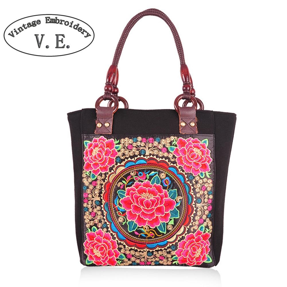 Vintage Embroidery Women Boho Bag Retro Canvas Shoulder Handbag Crossbody Bags For Women Bolsas Mujer Tela Ethnic Travel Bag
