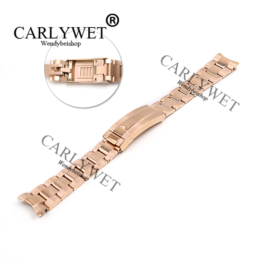 CARLYWET 20mm Rose Gold Stainless Steel Solid Curved End Screw Links New Style Glide Lock Clasp Steel Watch Band Bracelet Strap 20mm 23mm curved end watchbands rubber wrap rose gold stainless steel watch strap solid link bracelet for ar5890 5905 5919 5858