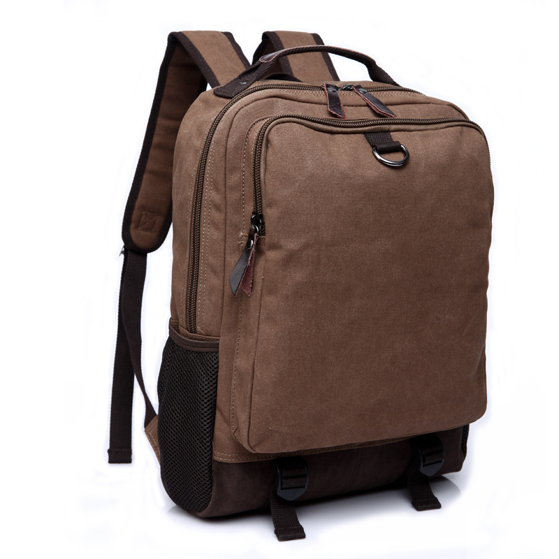 Fashion Men Canvas Leather Backpack for College Student Travel School Bags Male Multifunction Business Packbags Laptop Backpack men original leather fashion travel university college school book bag designer male backpack daypack student laptop bag 9950