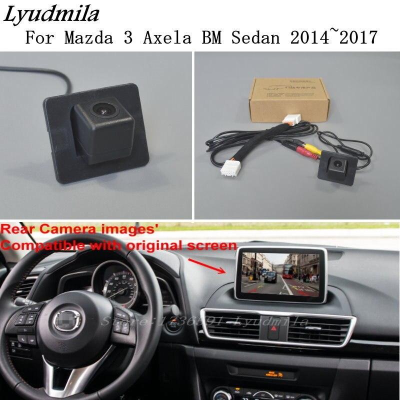 Ludmiła dla Mazda 3 Mazda3 Axela BM Sedan 2014 ~ 2018/samochód kamera cofania zestawy/RCA i oryginalny ekran kompatybilny