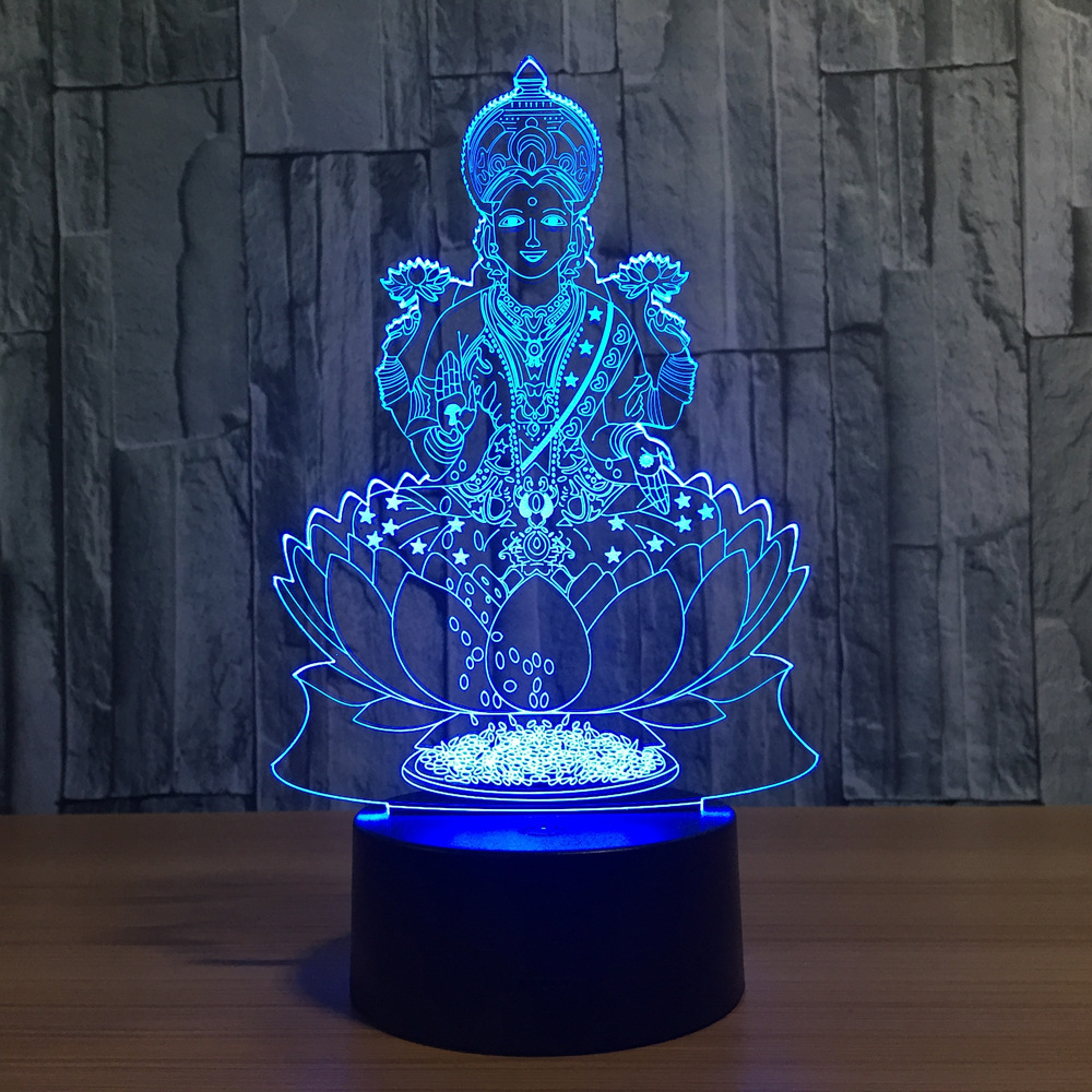 Buddha 7 Color Changing Night Lamp 3D Atmosphere Bulbing Light 3D Visual Illusion LED Table Lamp For Home Decor Friend Gift