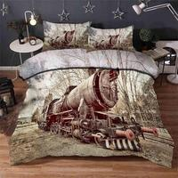 Steam trains Bedding quilt cover Duvet Cover Set Pillowcase Microfiber Soft Comforter Bedroom Single Queen King sale