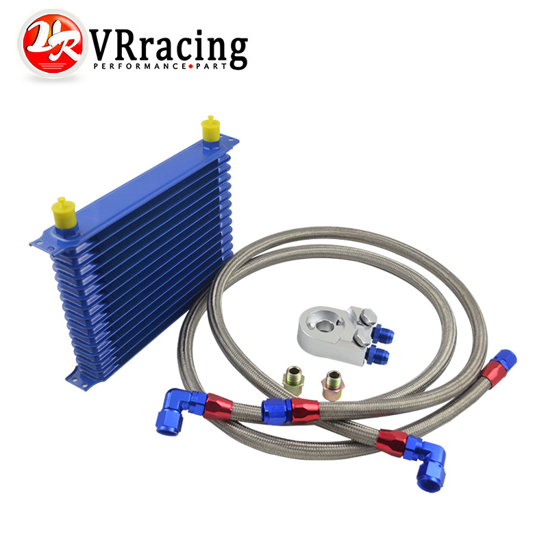 VR RACING - 15 ROW AN-10AN UNIVERSAL ENGINE OIL COOLER KIT + ALUMINUM HOSE END KIT VR5115B+6723SB+2PCS an10 7 row universal engine transmission oil cooler hose end kit