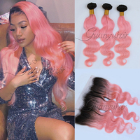 Guanyuhair Ombre 1B/Pink Brazilian Body Wave Human Hair Bundles With 13x4 Lace Frontal Closure Ear to Ear Dark Roots