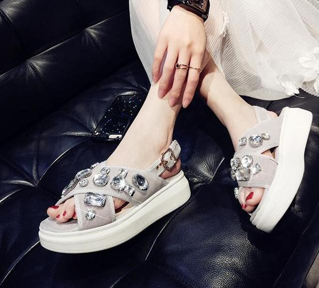 727d56acf88 Bohemian sandals for women wedge shoes crystal decoration grey army-green  shoes ladies cute casual shoes rhinestone sandals