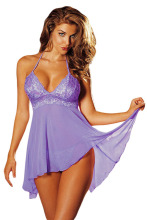 2015 New sex Nice Lingerie Night Robe Nightwear Nightdress Adult Clubwear halter-neck blue pink purple multi-fibre babydoll 2063
