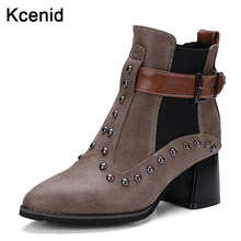 17c5850c6 Kcenid Plus size 48 fashion pointed toe chunky high heels autumn winter  ankle boots rivets buckle strap punk shoes woman brown