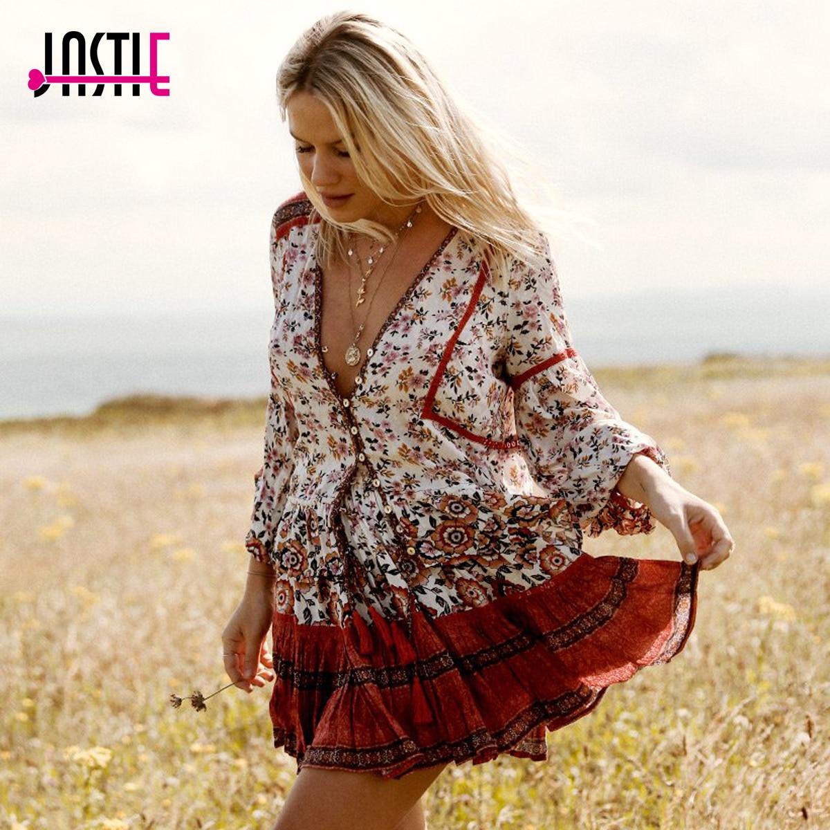 Jastie Boho 2 шт. комплект женское платье v-образным вырезом кисточкой галстук Повседневное пляжные летние платья плиссе Подол мини-платье vestidos ...