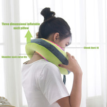 Three Dimensional Inflatable Neck U-shaped Pillow Soft Travel Pillow For Cervical Spine Neck Protection 3 Colors(China)