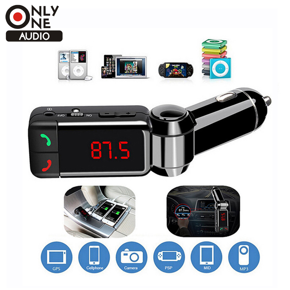 ONLY ONE AUDIO car Kit FM Transmitter Hands Free Auxin Mp3 Player with LED Display Portable