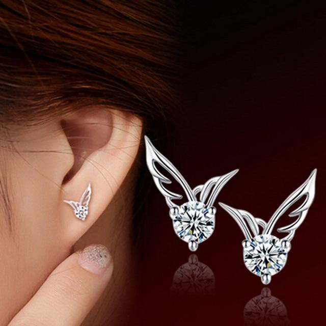 saatleri 2017 Hot Sale female Ear Stud Jewelry High Quality Women Elegant Angel Wings Wings Ear Stud Jewelry Freeshipping