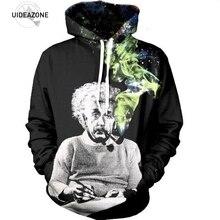 Эйнштейн курение Толстовка Черный 3D Космос Galaxy печати с капюшоном мужская и женская модная хип-хоп Уличная Толстовка забавные повседневные кофты