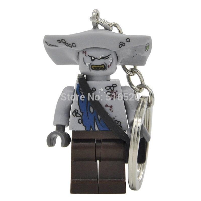 Pirates of the Caribbean Jack Sparrow Figure Keychain Davy Jones Salazar Barbossa Key Chain Ring DIY Building Blocks Toys Gift