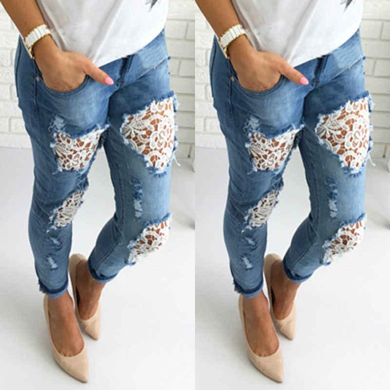 2bc1152348e Джинсы женские Весна Лето Новая мода 2018 плюс размер тонкие приталенные  рваные джинсы женские повседневные Узкие