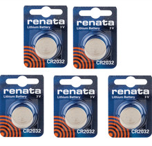 Free Shipping! Original RENATA 5pcs/lot CR2032 2032 3V High-Performance Button Batteries
