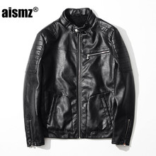 Aismz Men New Fashion Brand Clothing Male Slim Fit PU Leather Jacket Mens Casual Punk Motorcycle