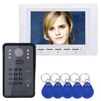7 Lcd RFID Password Video DoorPhone Intercom Doorbell System With IR-CUT Camera 1000 TV Line Access Control System