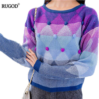 RUGOD 2018 Knitting Sweater Women Pullover Gradient Purple Long Sleeve O neck Tricot Sweater Female Knitwear Jumper Pull Femme