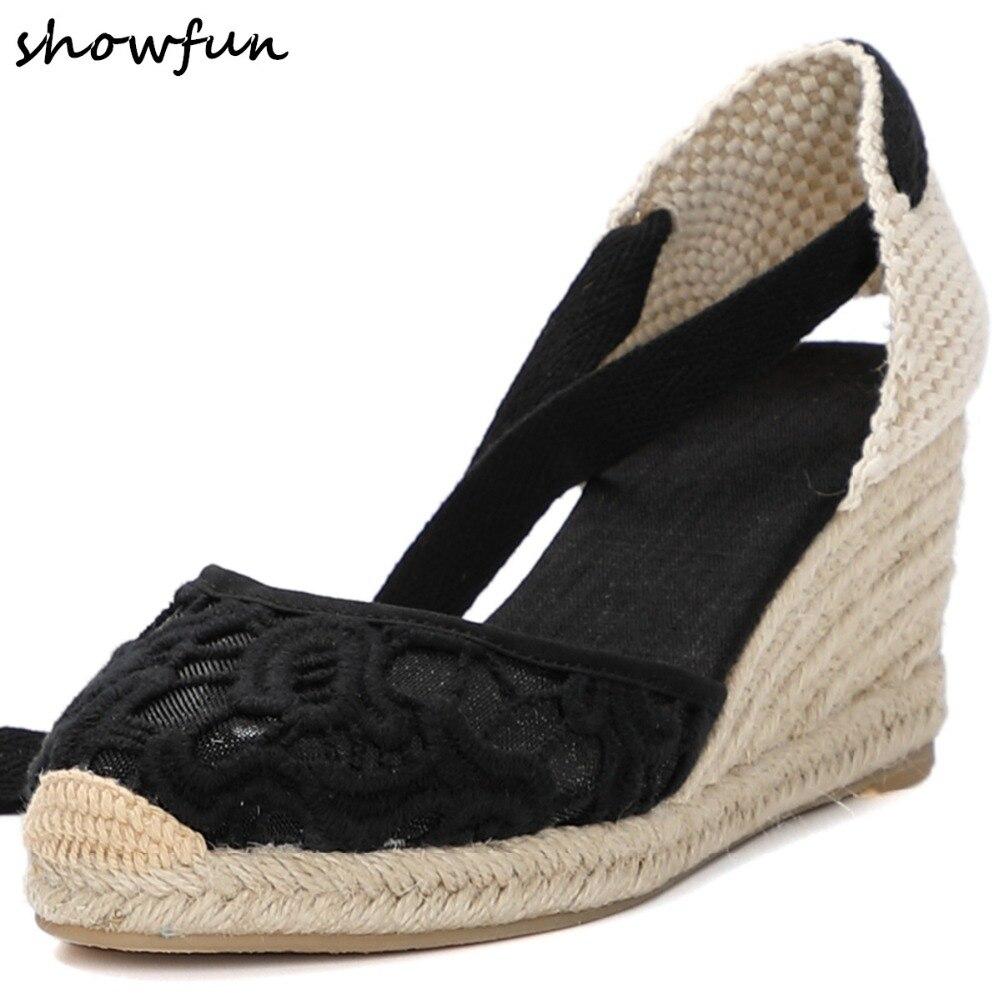 Women s summer wedge sandal canvas ankle tie leisure sandals high quality comfort female footwear elegant
