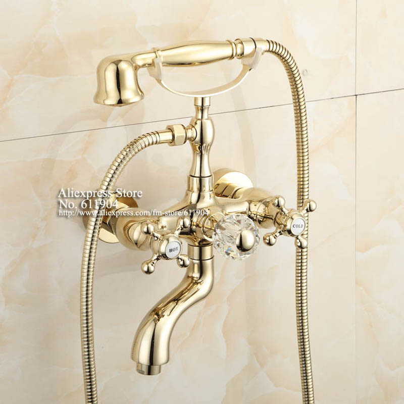 New Luxury Gold Color Bathroom Clawfoot Bathtub Faucet Handheld ...