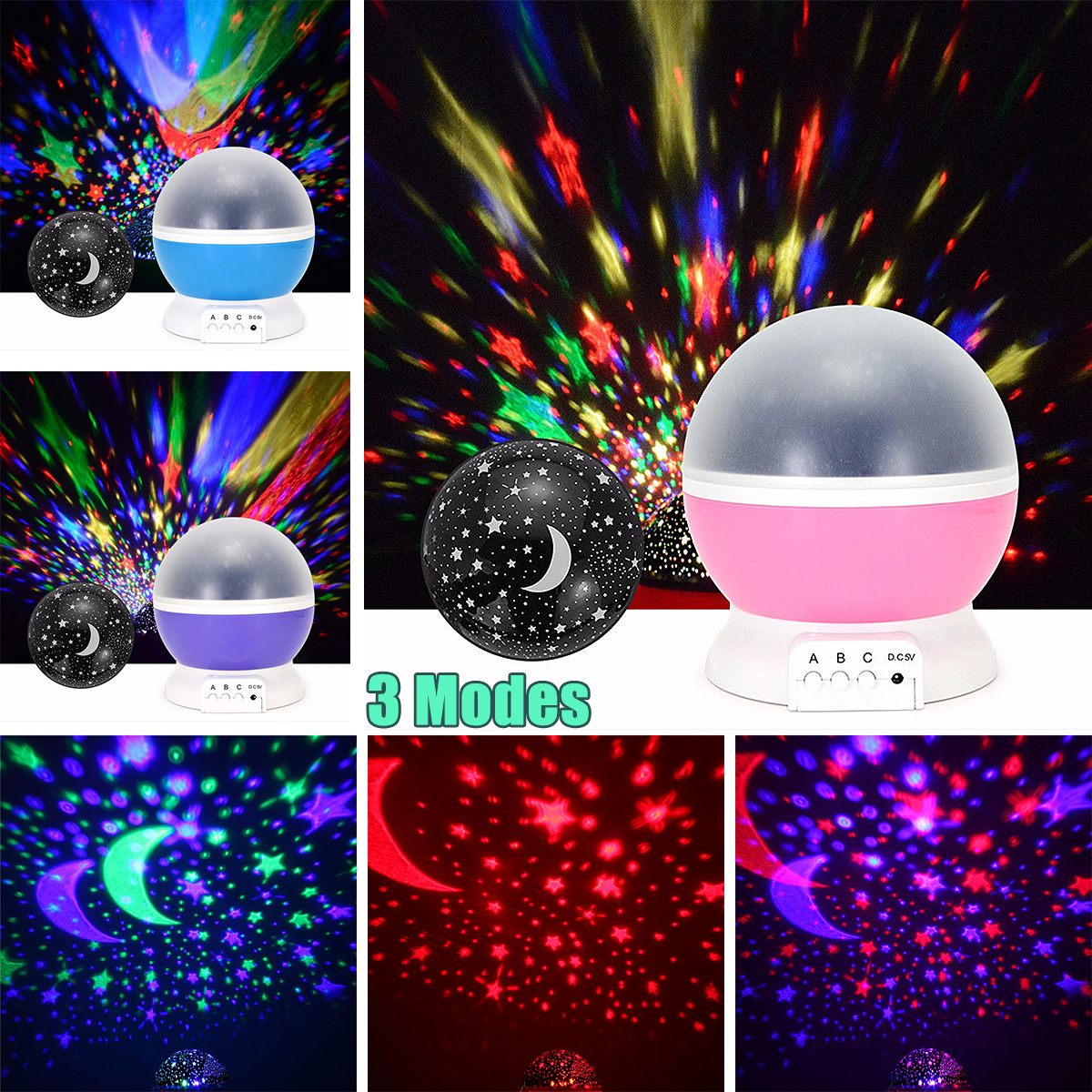 Smuxi Rotating Night Light Projector Spin Starry Sky Star