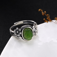 2018 New Top Fashion Anel Feminino S925 Pure Inlay Hetian Flower Lady Restoring Ancient Ways Ring Wholesale High-grade Openings цена
