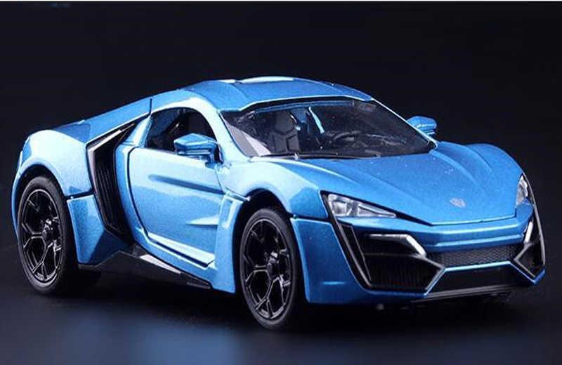 1/32 Skala Diecast Model Mobil Paduan Mainan Biru Lykan Hypersport Mobil Model Dengan Cahaya & Suara Hadiah Koleksi