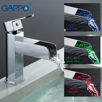GAPPO Basin Faucet basin sink mixer LED temperature waterfall water mixer tap Deck Mount faucet armatur