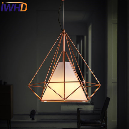 IWHD Modrn LED Pendant Lamp Fashion diamond Iron Hanging Lights Restaurant Bedroom Living Room Cafe Cloth Suspension Luminaire a1 master bedroom living room lamp crystal pendant lights dining room lamp european style dual use fashion pendant lamps