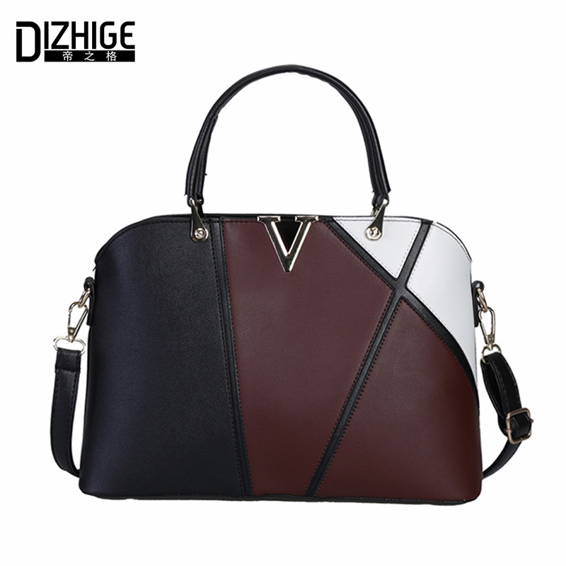 цены DIZHIGE Brand 2017 Fashion Patchwork Women Handbag V Letter Shoulder Bag PU Leather Bags Women Designer Ladies Hand Bags New Sac