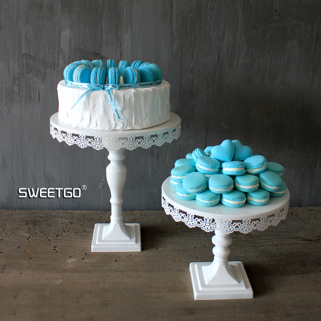 Lace White Wedding Cake Stand Cupcake Dispaly Plate Metal Stands ...