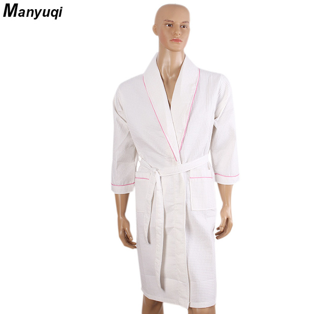 Frauen und mann baumwolle waffel bademantel solide kragen rand ...