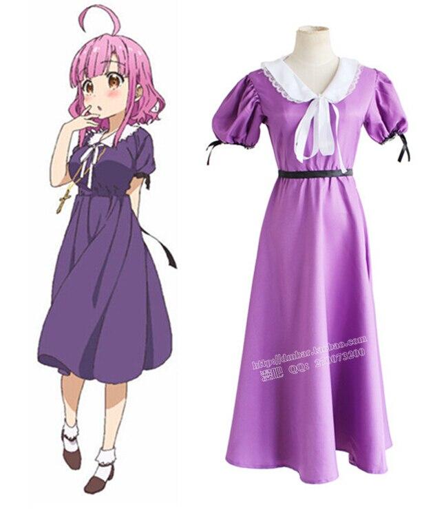 SCHOOL LIVE! Cos cosplay Sakura megumi Purple cos clothes one piece dress