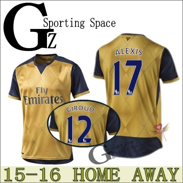 d6f6f0856 ... spain walcott new away shirt 15 16 jersey home 2015 2016 soccer jersey  alexis flamini giroud
