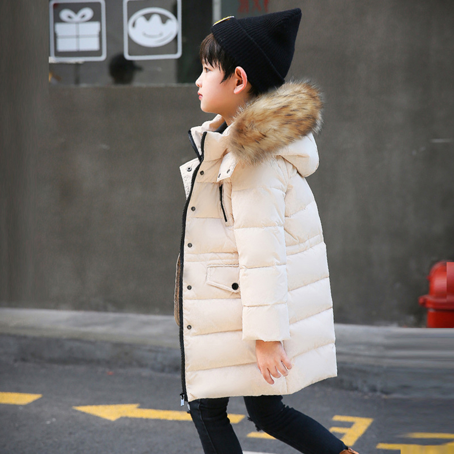 Abesay Winter Fashion Thick Children's Down Jackets Solid Fur Hooded Kids Outerwear Teenage Boys&Girls Clothing 6 8 12 Years