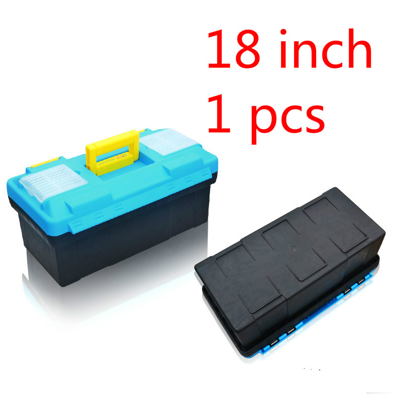 1 Pcs 18 Inch Plastic Tool Box Multifunctional Household Maintenance Tool Box Reinforced Vehicle Mounted Storage Box