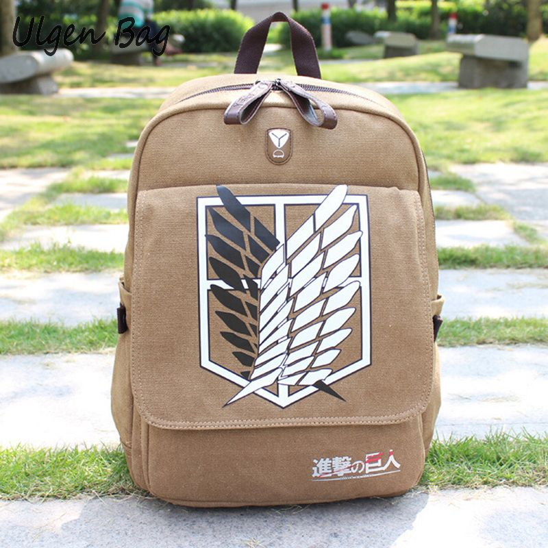 New Laptop Travel Backpack Canvas School Bag Shingeki Kyojin No Attack On Titan Backpacks Shoulder Bags Unisex Cartoon Daypack