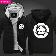 BOOCRE USA Hot Game Devil Kings Oda Nobunaga Hoodie Sweatshirt Jacket Zipper Fleece Winter Thicken Unisex Sweatshirt Coat