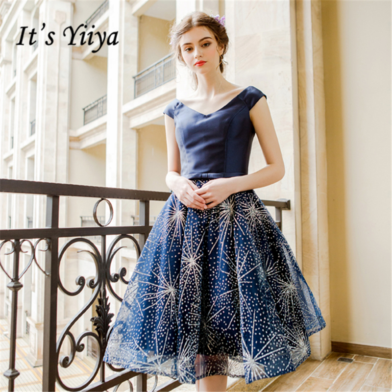 It's YiiYa Deep Blue V-Neck Lace Up Fashion Designer Luxury Elegant Cocktail Gowns Bling Crystal Cocktail Dress LX281