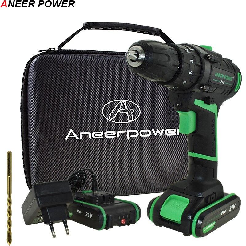 21 V nuevo estilo impacto taladro destornillador eléctrico taladro de mano eléctrico la batería Taladro Inalámbrico inicio Diy herramientas eléctricas + bolso tejido