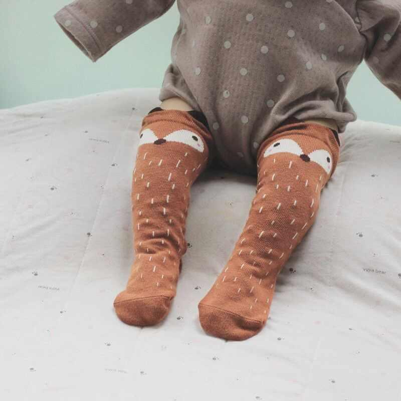 신생아 유아 무릎 높은 양말 아기 소년 비비 소녀 폭스 양말 신생아 유아를위한 귀여운 만화 동물 고양이 다리 따뜻하게