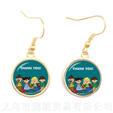 Classic Thank You Teacher Earrings Red Heart Pattern Glass Drop Earrings Metal Merci Maitresse Women Men Kids Creative Gifts(China)